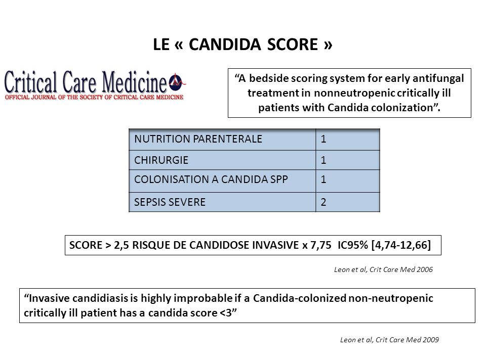 LE « CANDIDA SCORE » A bedside scoring system for early antifungal treatment in nonneutropenic critically ill patients with Candida colonization .