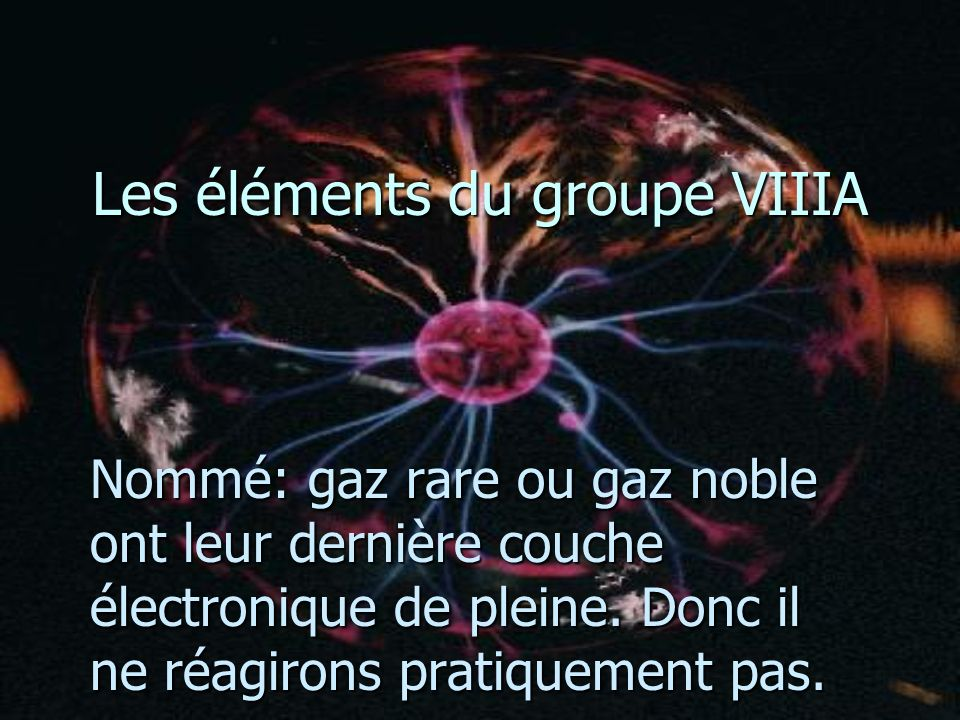 Les éléments du groupe VIIIA