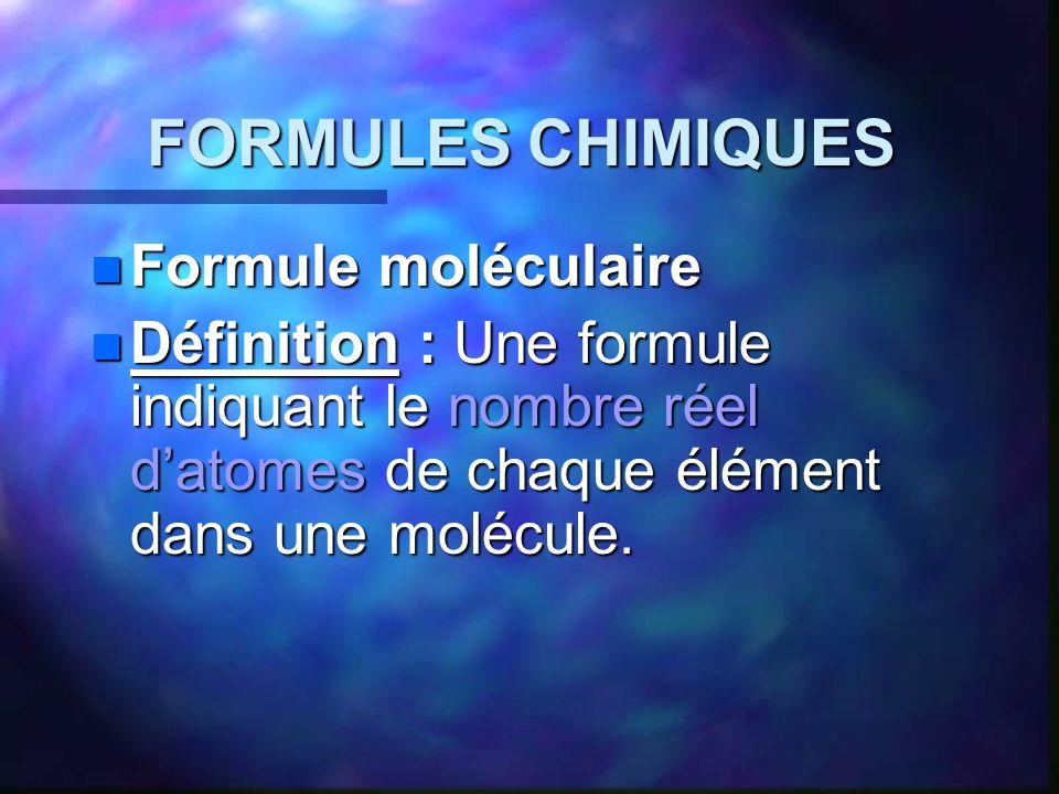 FORMULES CHIMIQUES Formule moléculaire