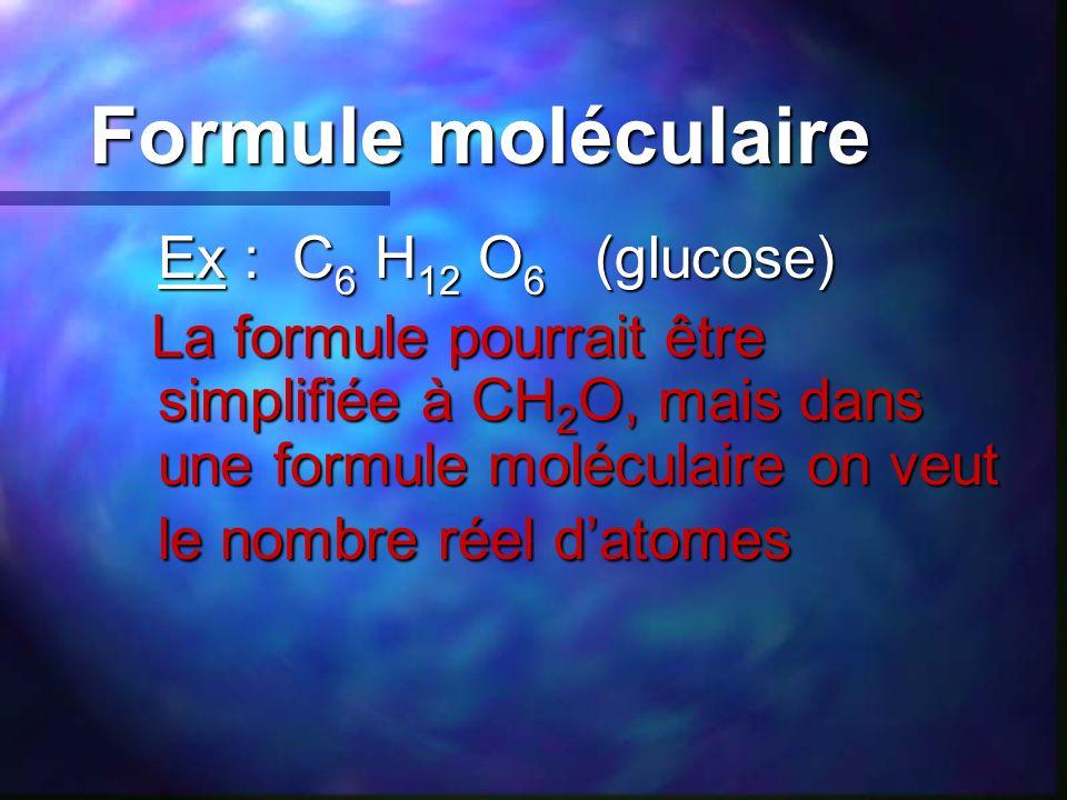 Formule moléculaire Ex : C6 H12 O6 (glucose)