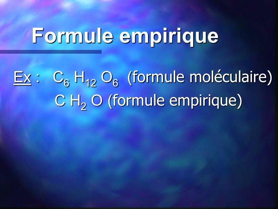 Ex : C6 H12 O6 (formule moléculaire)