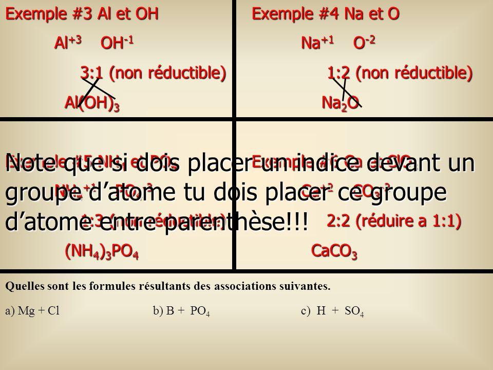 Exemple #3 Al et OH Al+3 OH-1. 3:1 (non réductible) Al(OH)3. Exemple #4 Na et O. Na+1 O-2.
