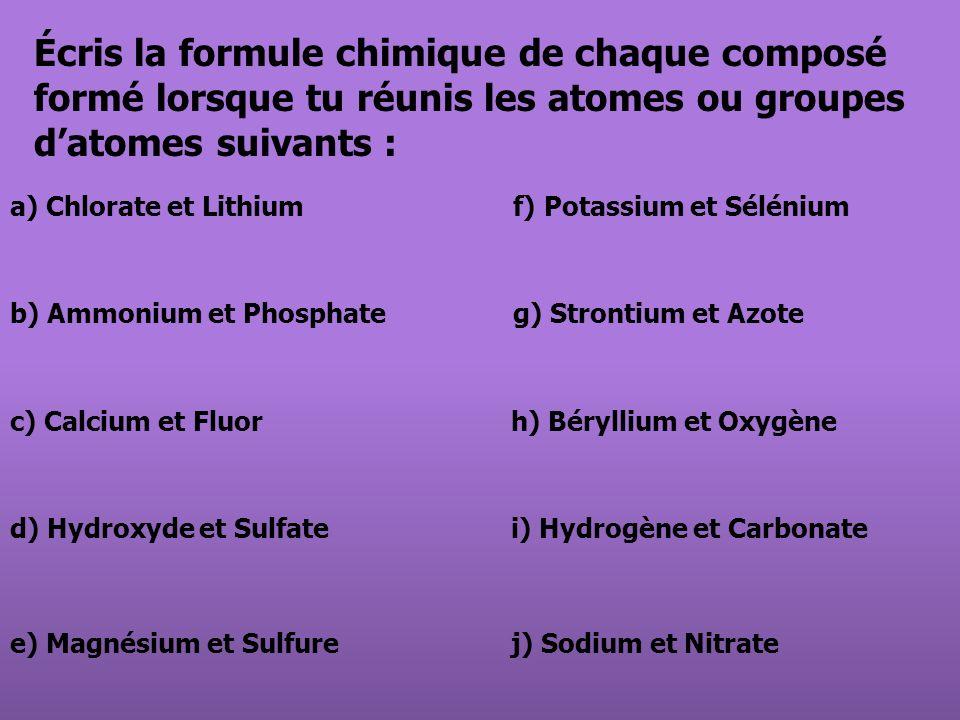 Écris la formule chimique de chaque composé formé lorsque tu réunis les atomes ou groupes d'atomes suivants :