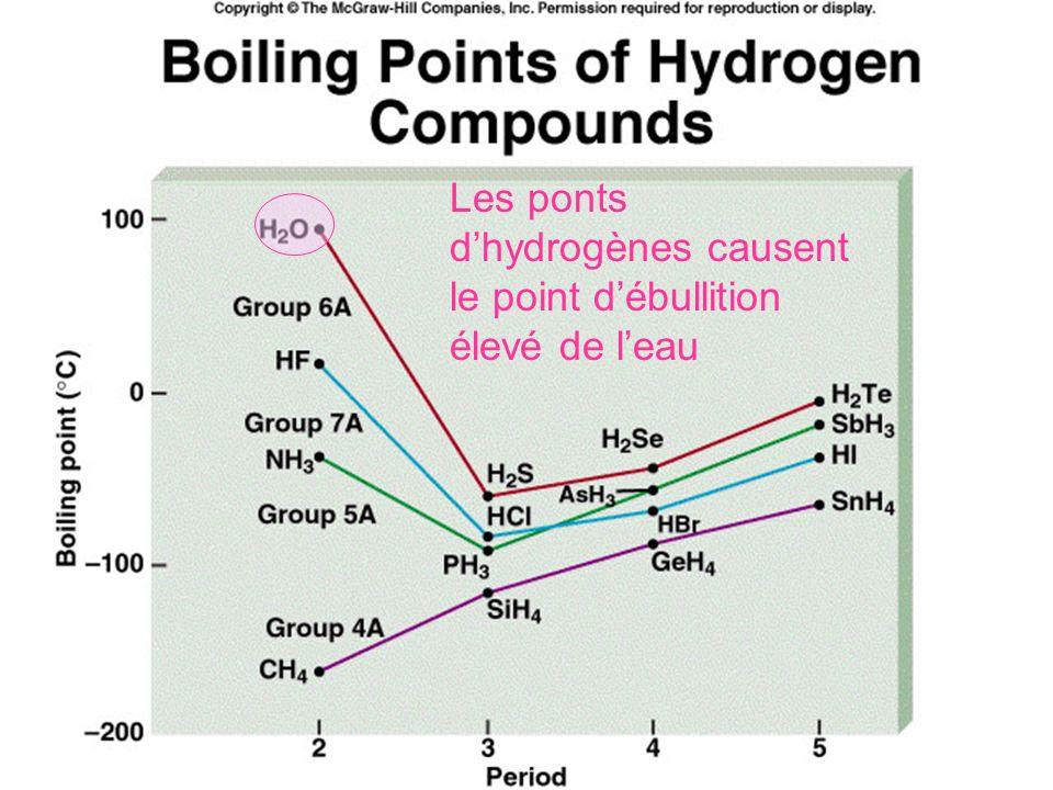 Les ponts d'hydrogènes causent le point d'ébullition élevé de l'eau