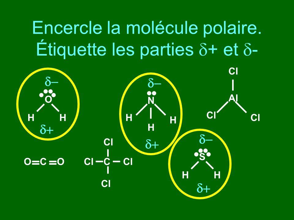 Encercle la molécule polaire. Étiquette les parties d+ et d-