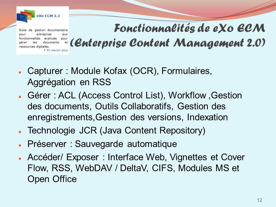 Fonctionnalités de eXo ECM (Enterprise Content Management 2.0)