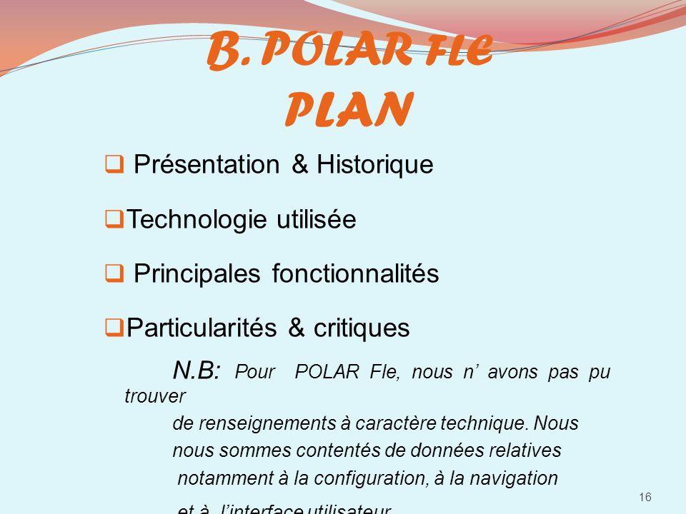 B. POLAR FLE PLAN Présentation & Historique Technologie utilisée