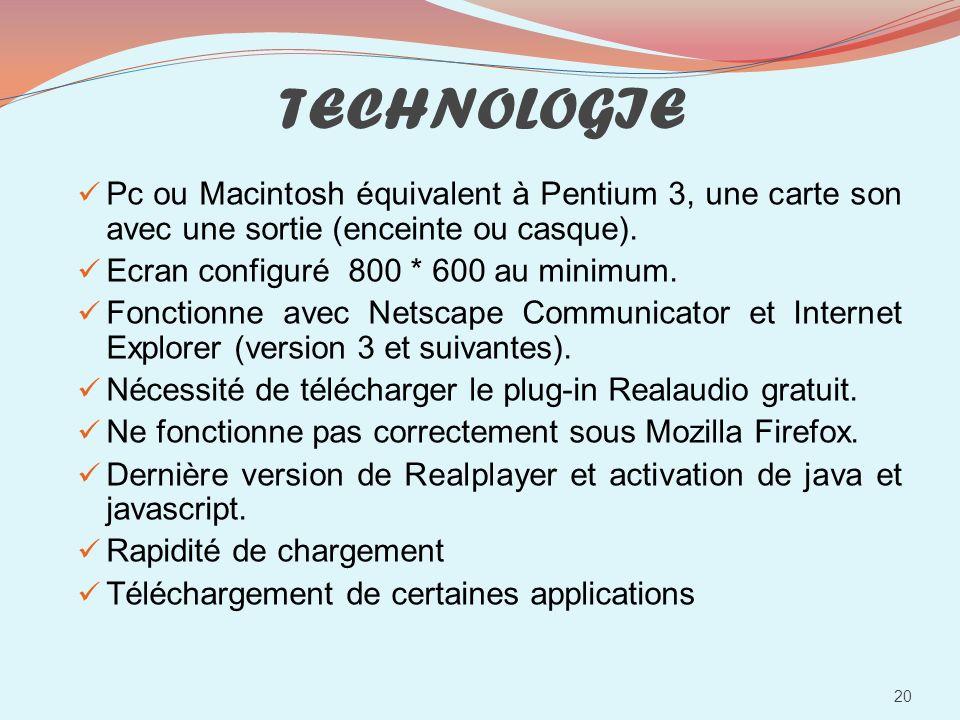 TECHNOLOGIE Pc ou Macintosh équivalent à Pentium 3, une carte son avec une sortie (enceinte ou casque).