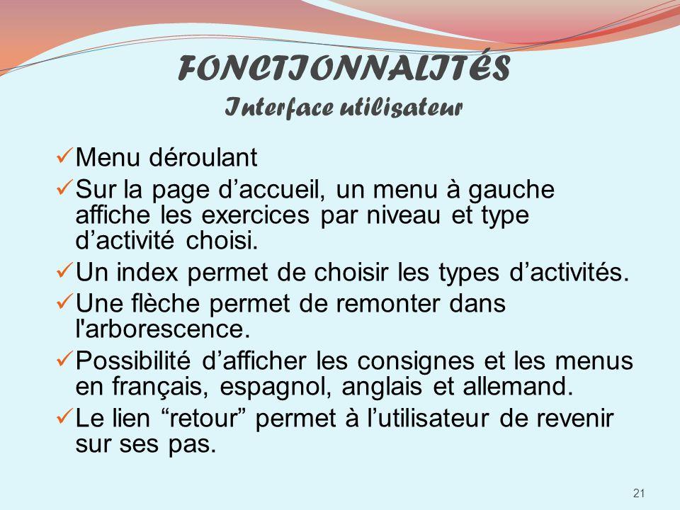 FONCTIONNALITÉS Interface utilisateur