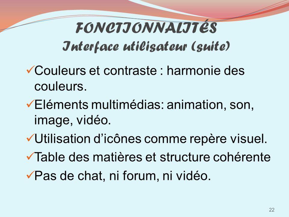 FONCTIONNALITÉS Interface utilisateur (suite)