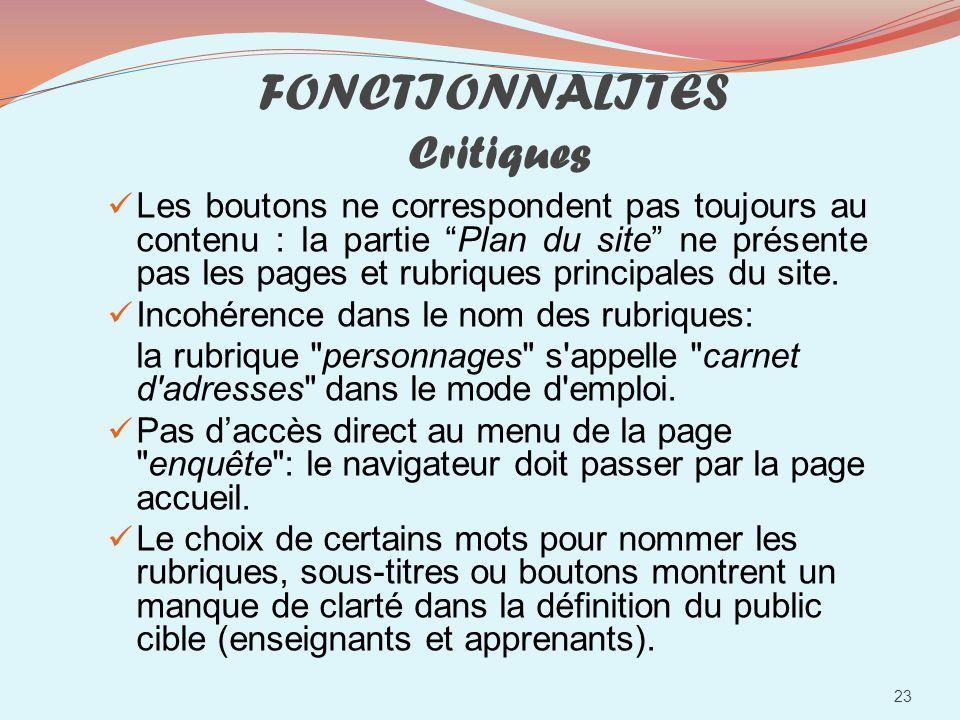FONCTIONNALITES Critiques