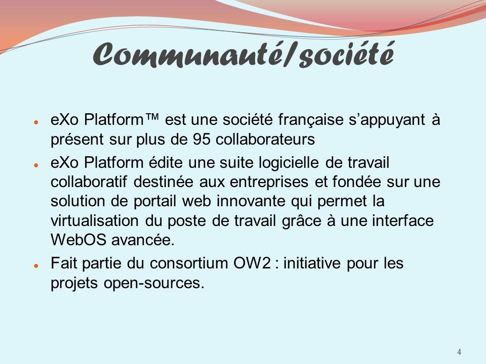 Communauté/sociétéeXo Platform™ est une société française s'appuyant à présent sur plus de 95 collaborateurs.