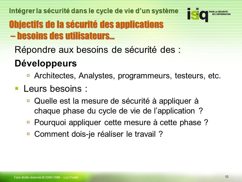 Objectifs de la sécurité des applications – besoins des utilisateurs…