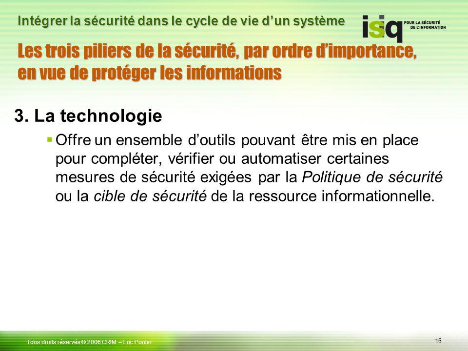 Les trois piliers de la sécurité, par ordre d'importance, en vue de protéger les informations