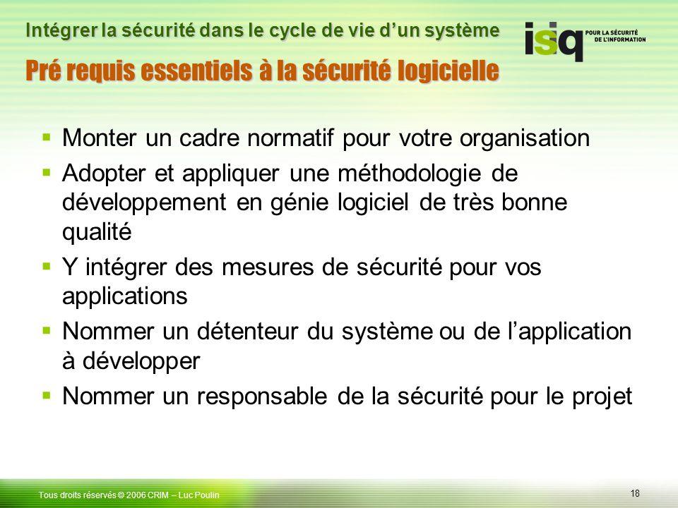 Pré requis essentiels à la sécurité logicielle