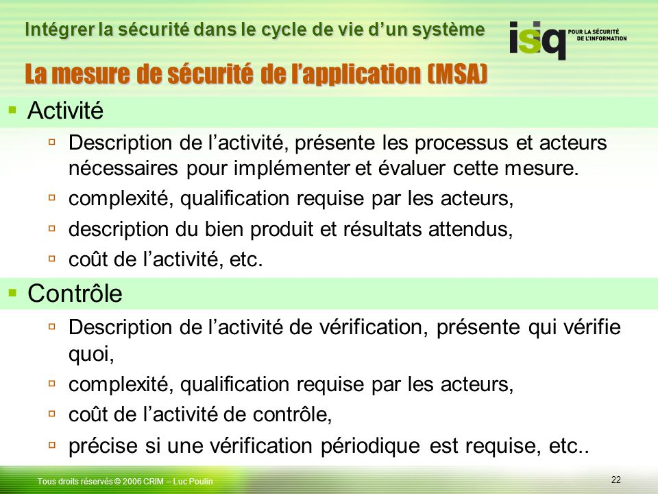 La mesure de sécurité de l'application (MSA)