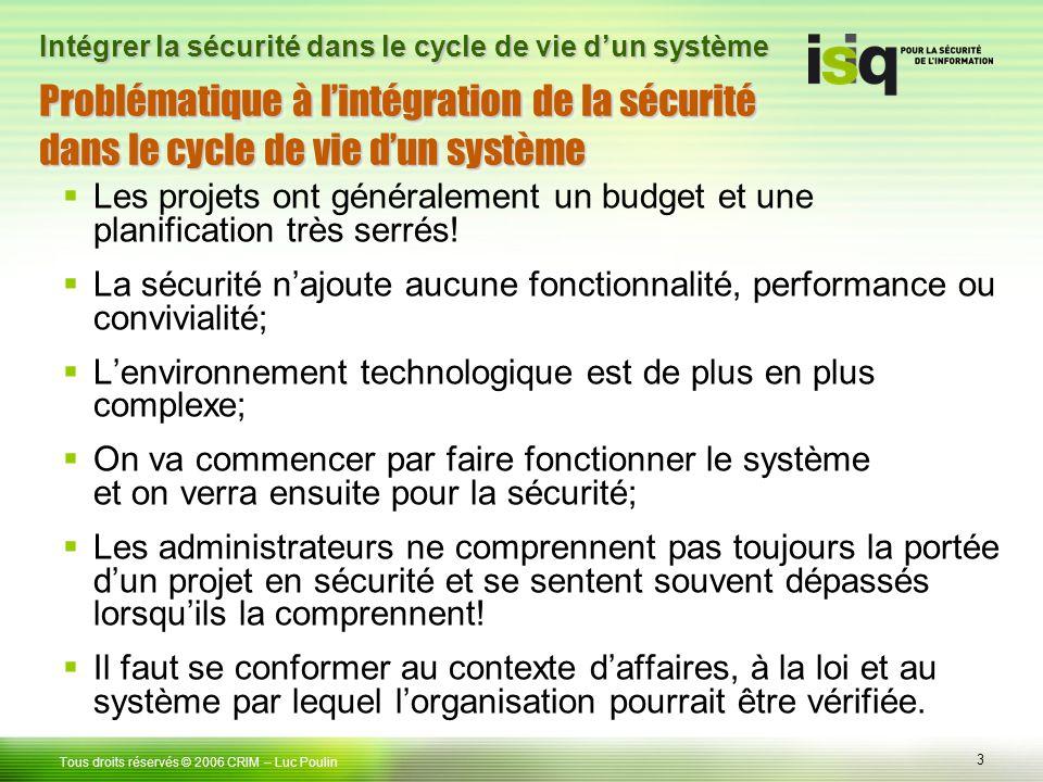 Problématique à l'intégration de la sécurité dans le cycle de vie d'un système