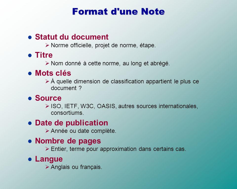 Format d une Note Statut du document Titre Mots clés Source