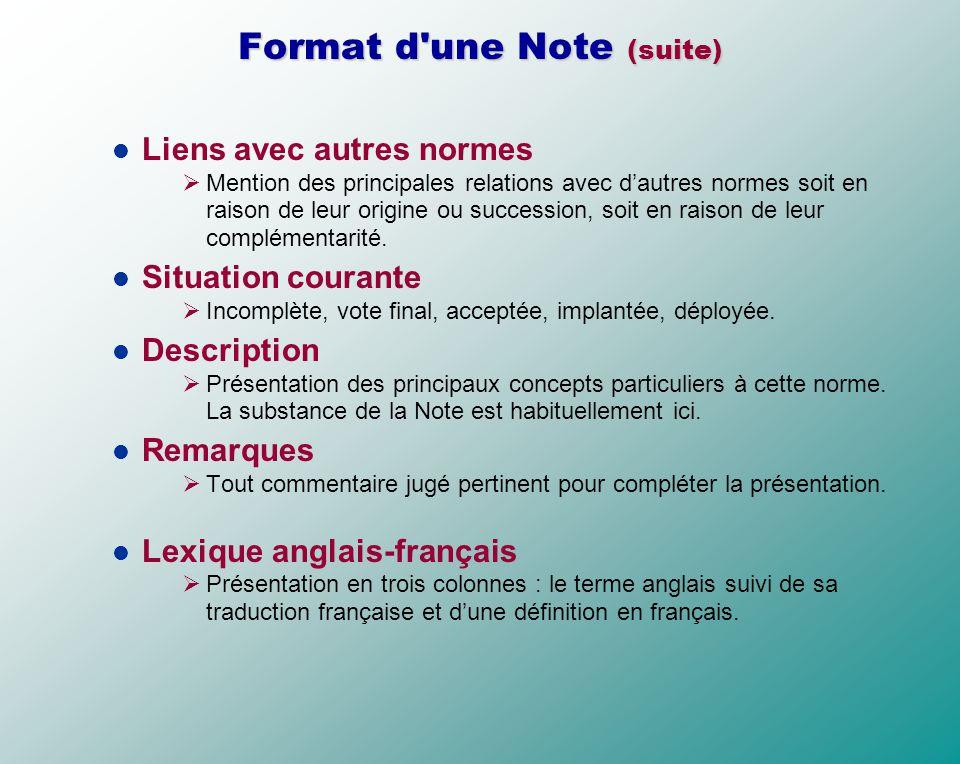 Format d une Note (suite)