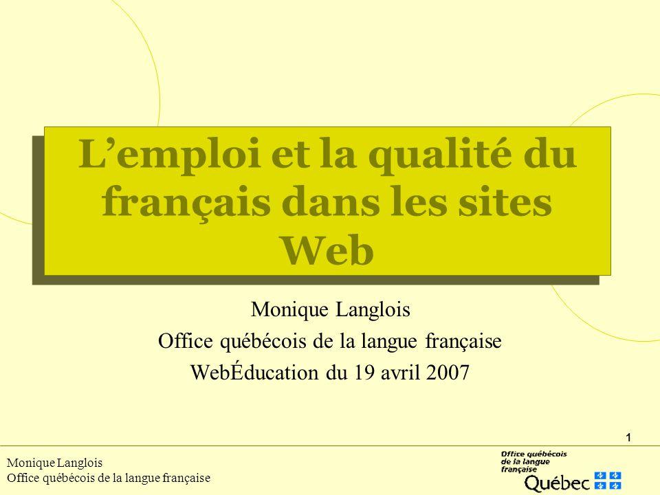 L'emploi et la qualité du français dans les sites Web