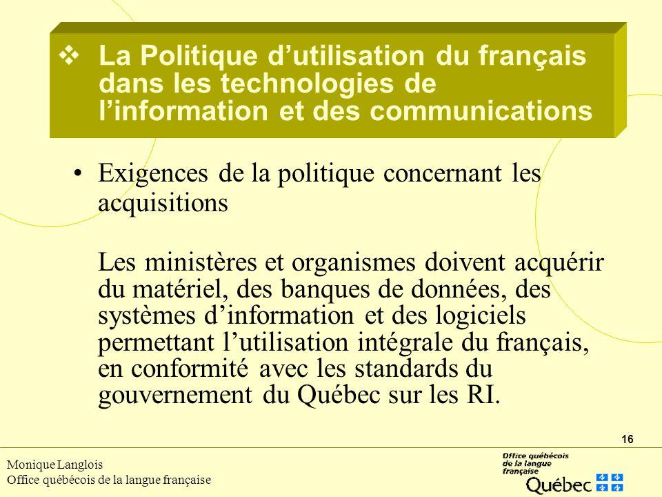 La Politique d'utilisation du français dans les technologies de l'information et des communications