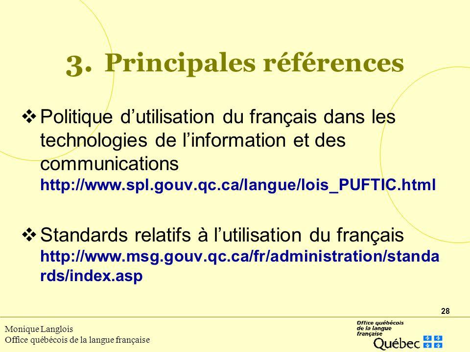 3. Principales références