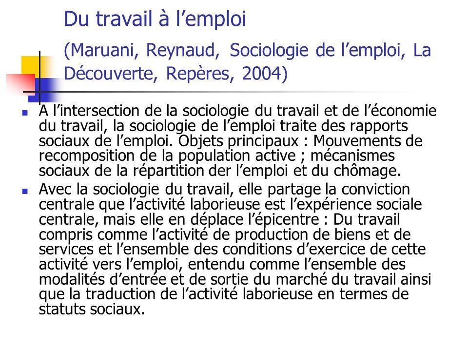 Du travail à l'emploi (Maruani, Reynaud, Sociologie de l'emploi, La Découverte, Repères, 2004)