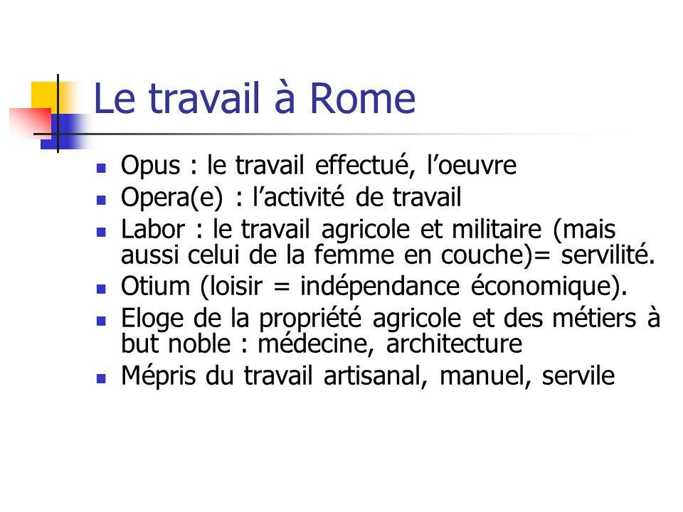 Le travail à Rome Opus : le travail effectué, l'oeuvre