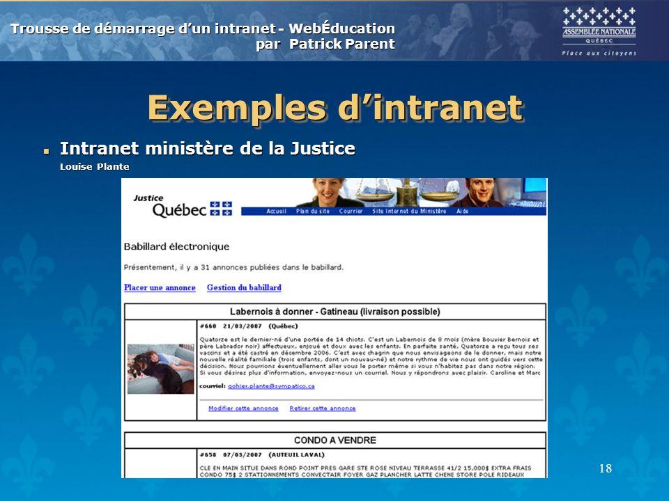 Exemples d'intranet Intranet ministère de la Justice Louise Plante