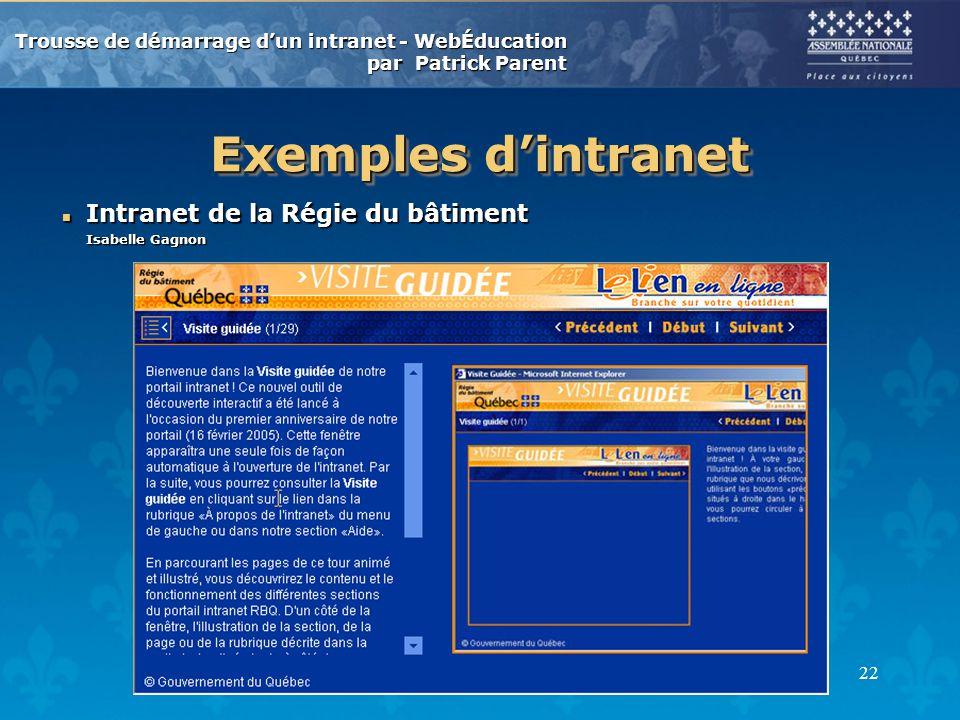 Exemples d'intranet Intranet de la Régie du bâtiment Isabelle Gagnon