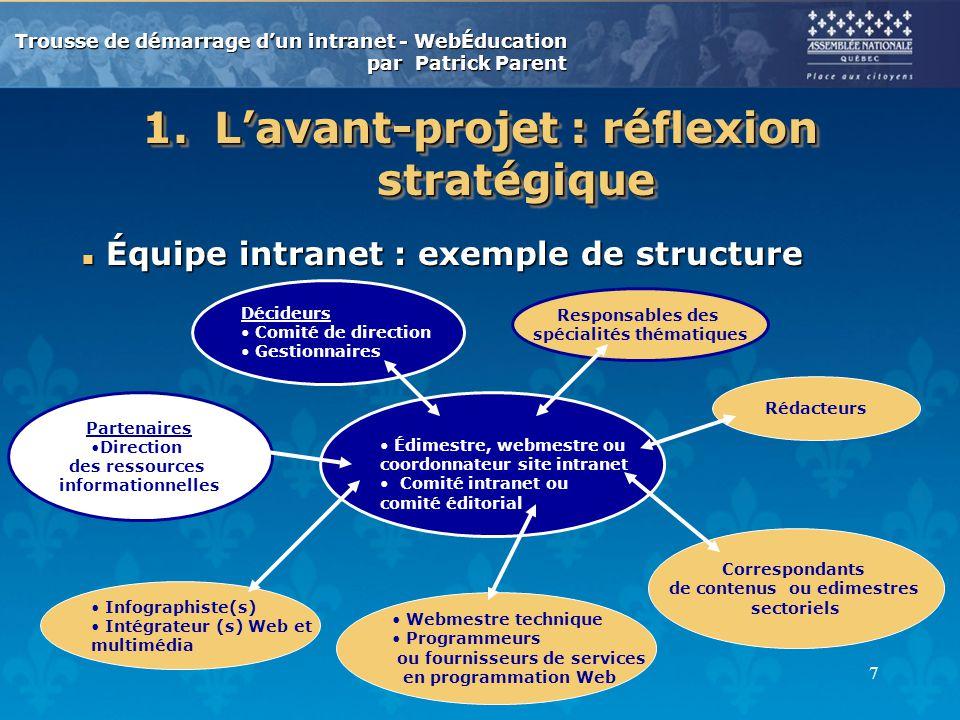 L'avant-projet : réflexion stratégique