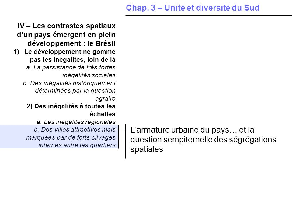 Chap. 3 – Unité et diversité du Sud