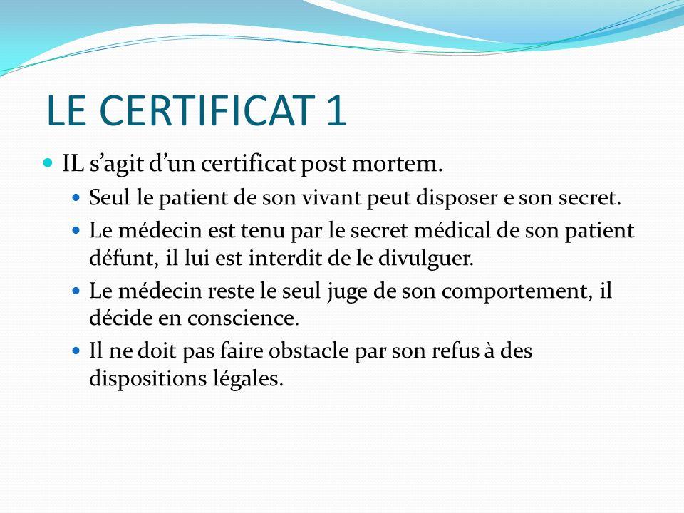 LE CERTIFICAT 1 IL s'agit d'un certificat post mortem.