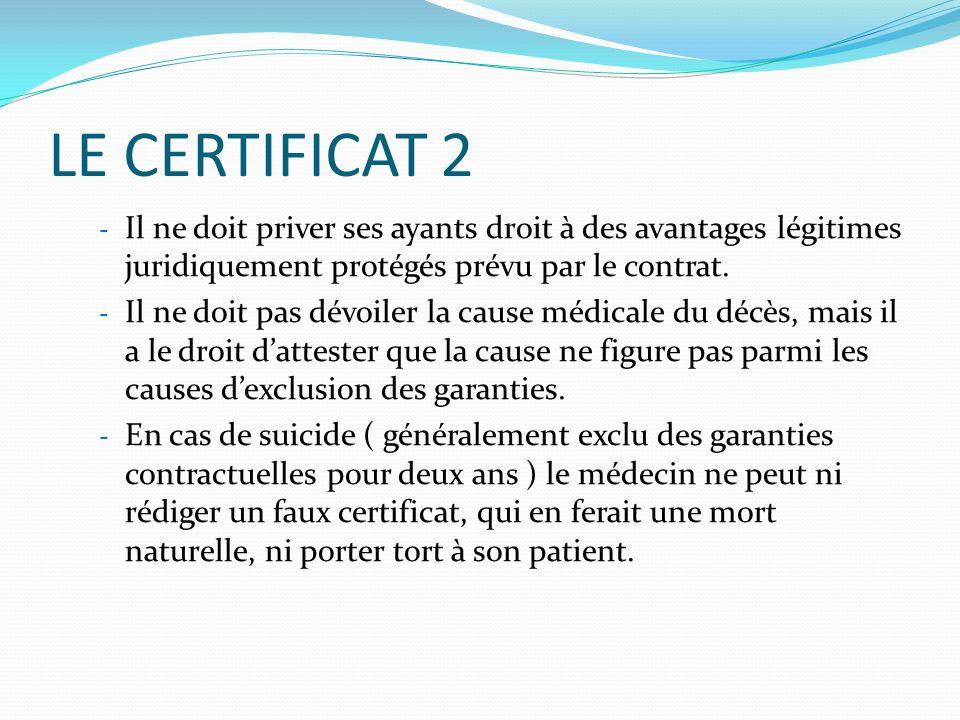 LE CERTIFICAT 2 Il ne doit priver ses ayants droit à des avantages légitimes juridiquement protégés prévu par le contrat.