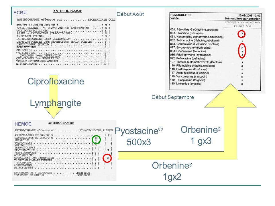 Ciprofloxacine Lymphangite Orbenine® Pyostacine® 1 gx3 500x3 Orbenine®