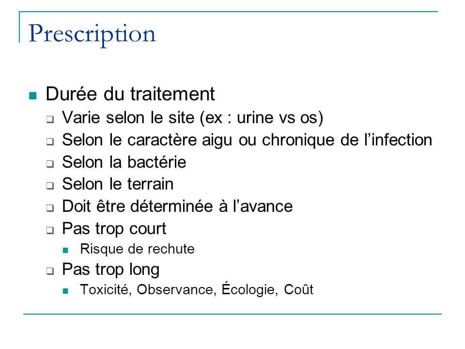 Prescription Durée du traitement