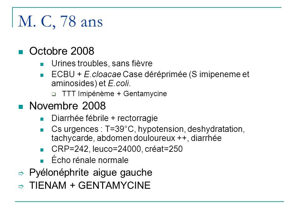 M. C, 78 ans Octobre 2008 Novembre 2008 Pyélonéphrite aigue gauche