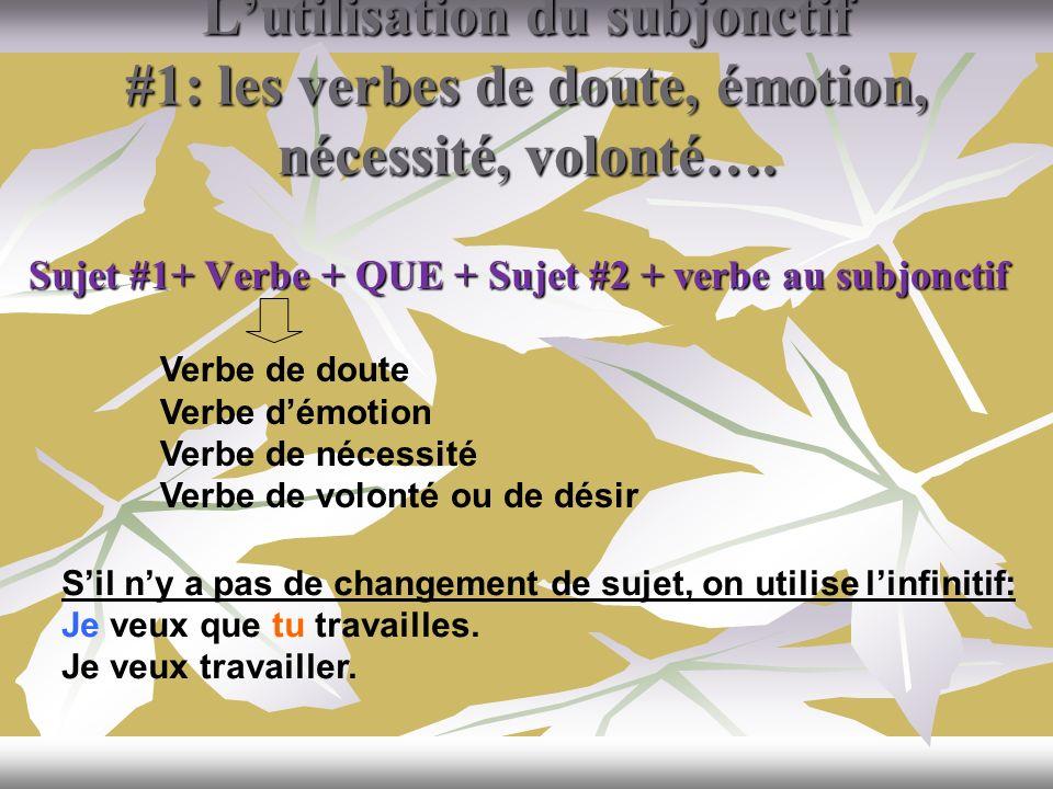 L'utilisation du subjonctif #1: les verbes de doute, émotion, nécessité, volonté….