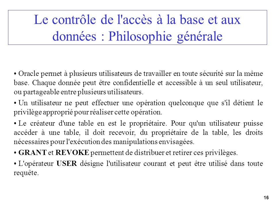 Le contrôle de l accès à la base et aux données : Philosophie générale