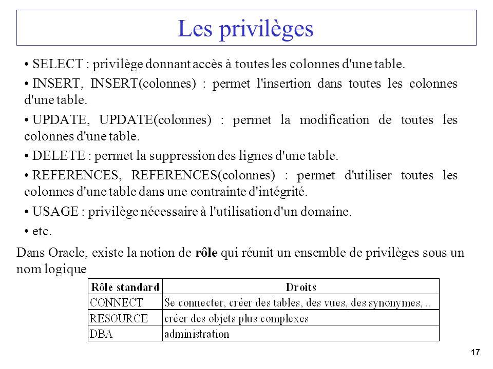 Les privilègesSELECT : privilège donnant accès à toutes les colonnes d une table.