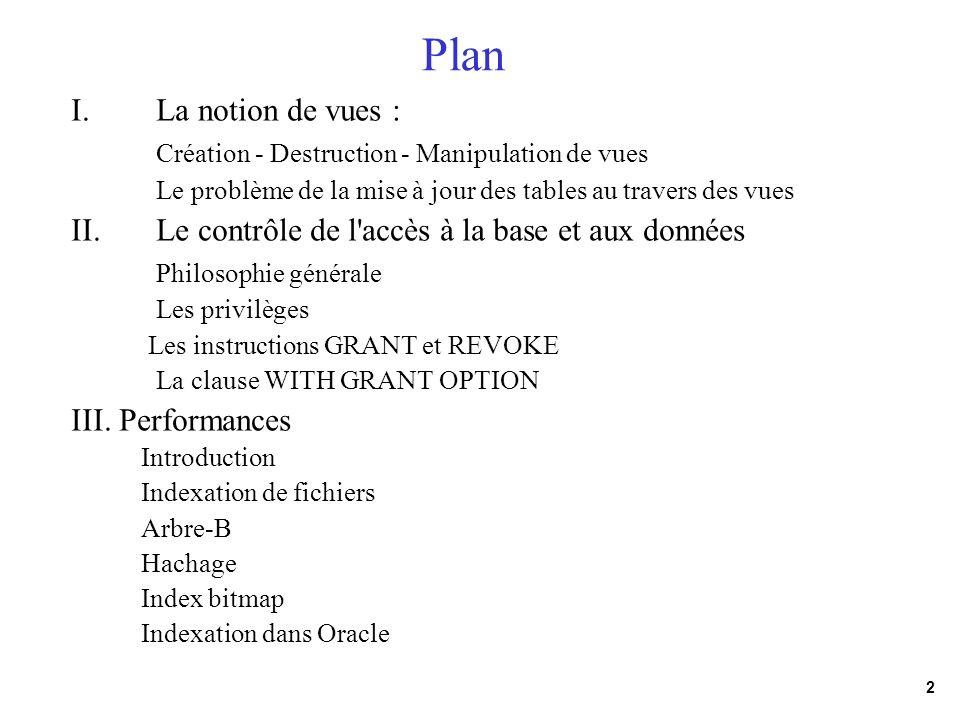 Plan La notion de vues : Création - Destruction - Manipulation de vues