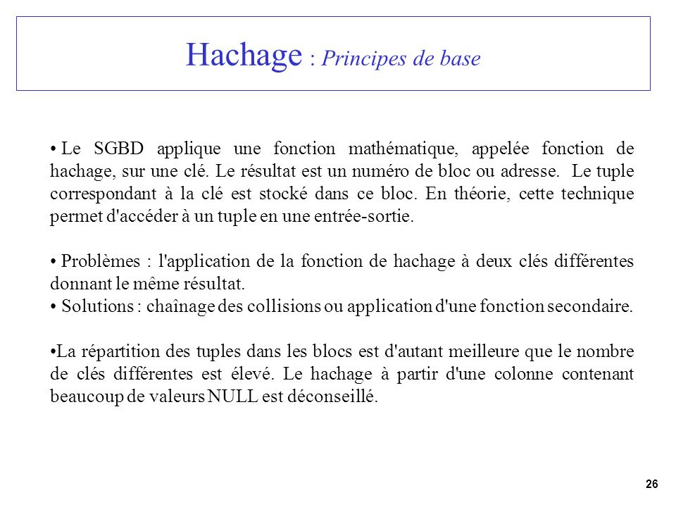 Hachage : Principes de base