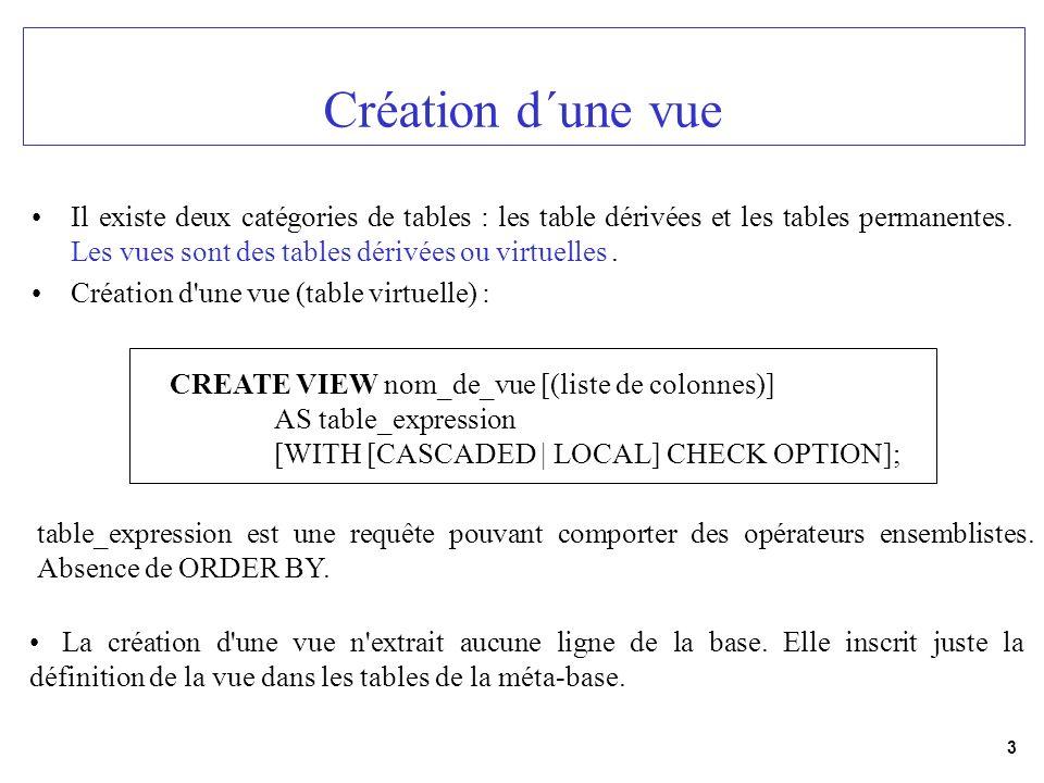 Création d´une vue