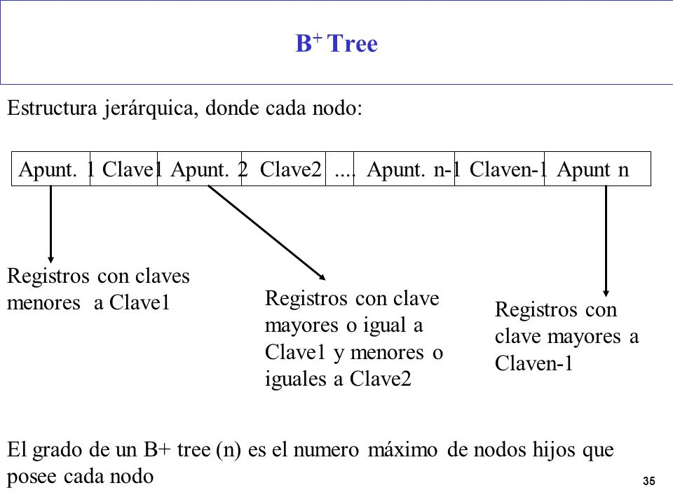 B+ Tree Estructura jerárquica, donde cada nodo: