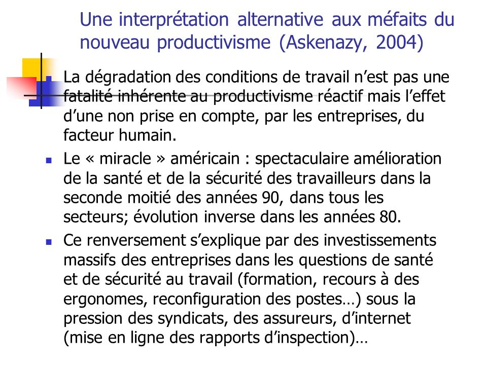 Une interprétation alternative aux méfaits du nouveau productivisme (Askenazy, 2004)