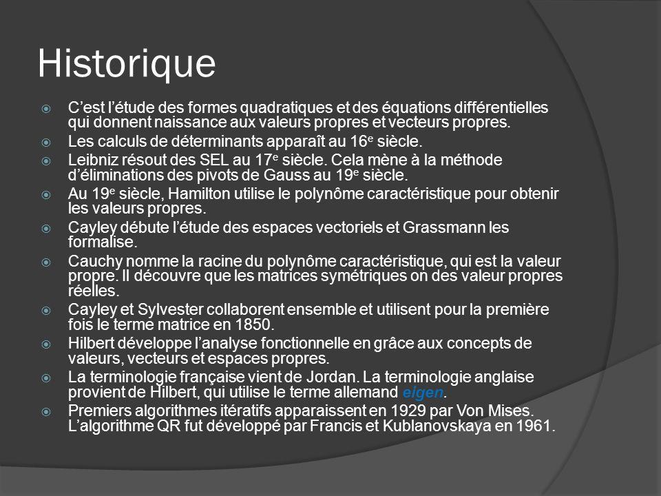 Historique C'est l'étude des formes quadratiques et des équations différentielles qui donnent naissance aux valeurs propres et vecteurs propres.
