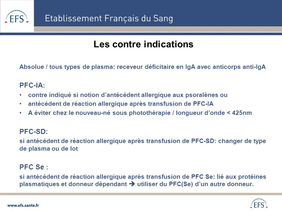 Les contre indications