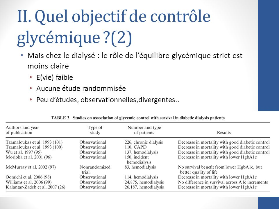 II. Quel objectif de contrôle glycémique (2)