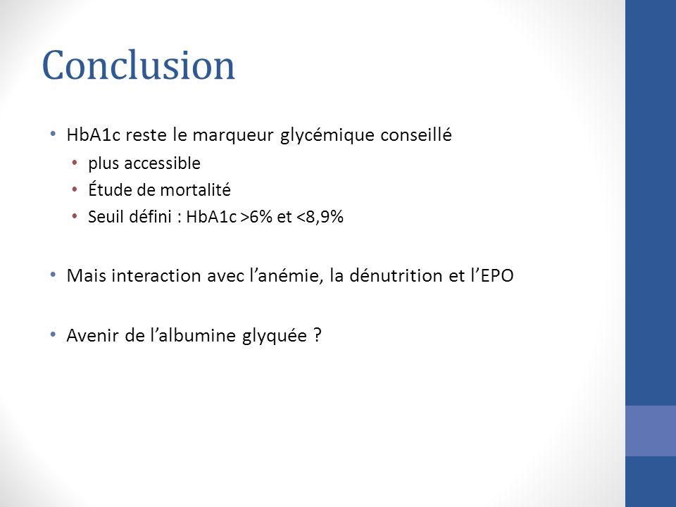 Conclusion HbA1c reste le marqueur glycémique conseillé