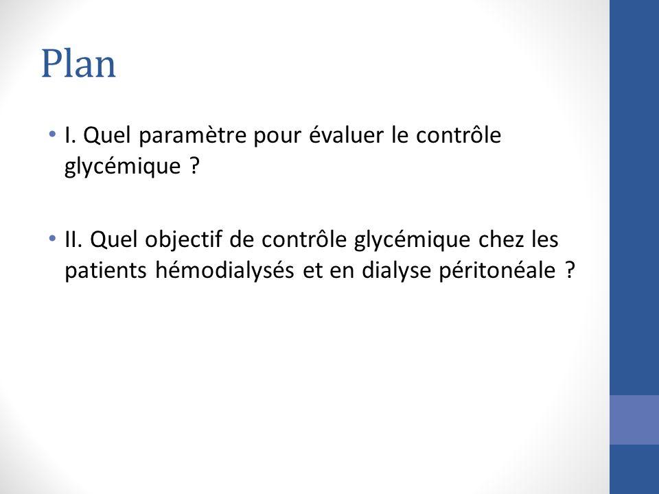 Plan I. Quel paramètre pour évaluer le contrôle glycémique